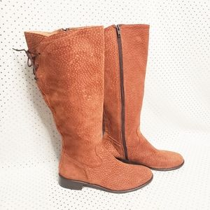 Rust colored tall leather boots